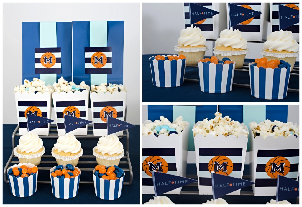 basketball party baking cups and popcorn