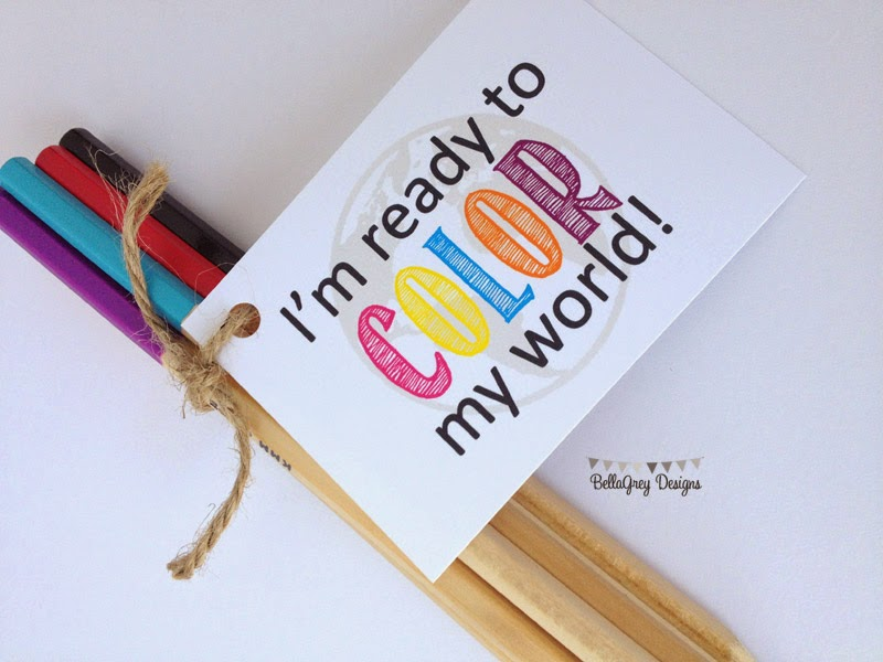 Back to School FREE Color My world tag