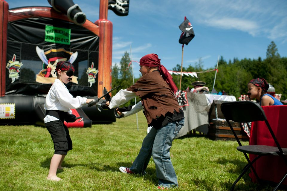 pirate party sword fighting