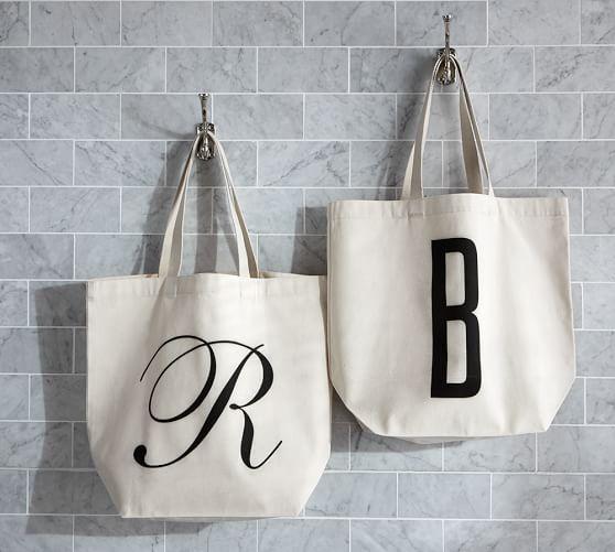 pottery barn monogram bags