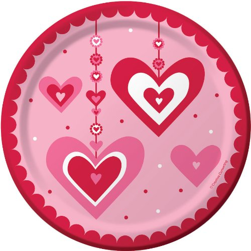 Valentine's Day heart paper plates