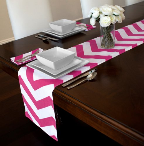 Valentine's Day pink and white chevron runner