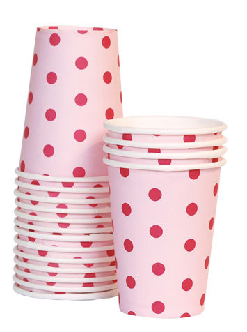 pink and red polka dot paper cups