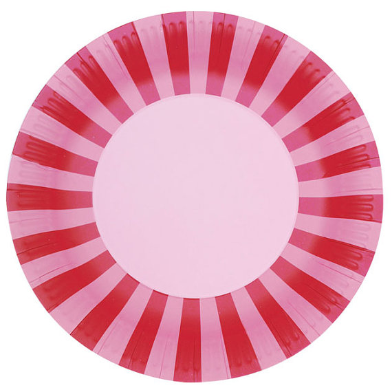 red and pink stripe paper plates