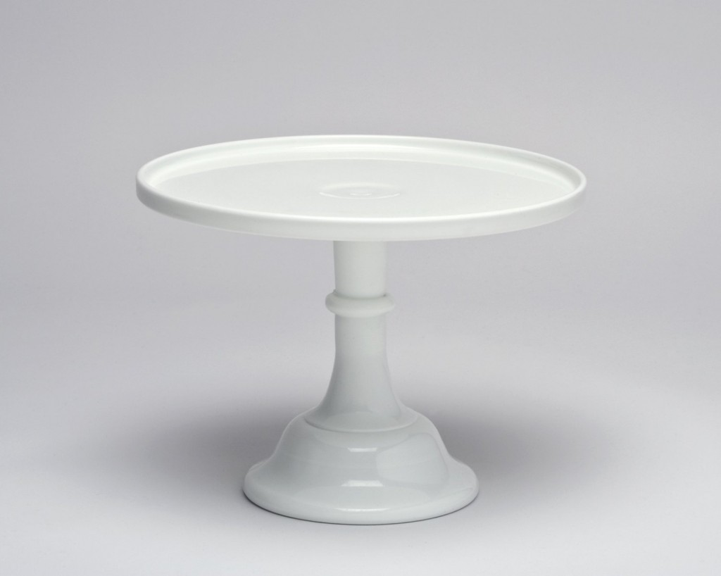 white 12 inch milk glass cake stand