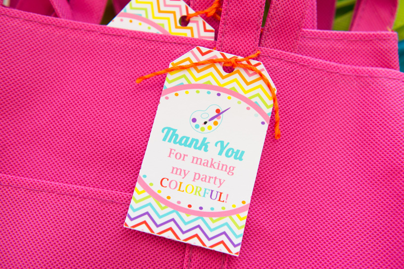 art party favor bag
