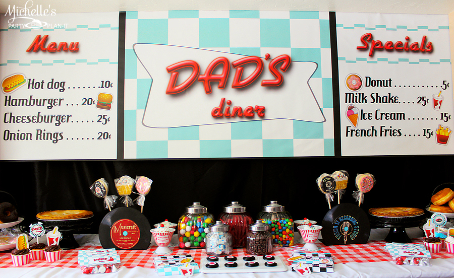 A fabulous 50s diner inspired father 39 s day party hoopla for 50s party decoration