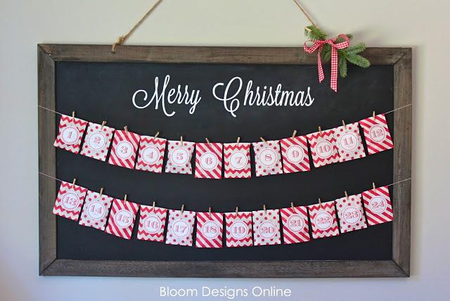 free advent calendar tags